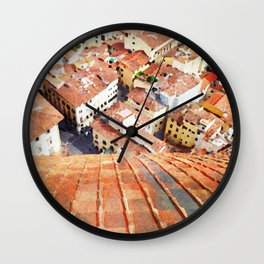 Florence Watercolor Painting Wall Clock