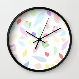 Colorful pastel leaves Wall Clock