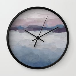 Plum Purple Lavender Blue Abstract Painting Ocean Waves Cloud Horizon, Modern Wall Art, Digital Wall Clock