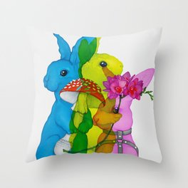 Multiplied Rabbits Throw Pillow
