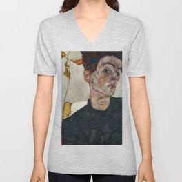 """Egon Schiele """"Self-Portrait with Physalis"""" Unisex V-Neck"""