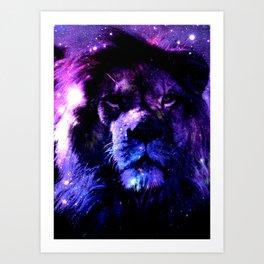 Lion leo purple Art Print