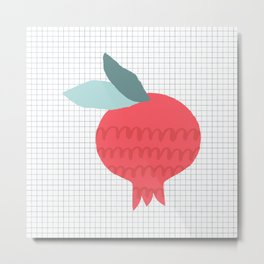 Trendy pomegranate print. Add some vitamins to your life! :) Metal Print