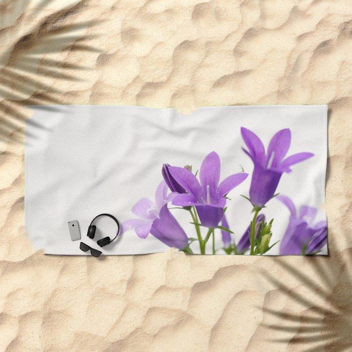 PURPLE FLOWERS - Bellflowers #2 #decor #art #society6 Beach Towel