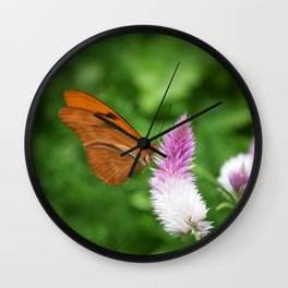 Butterfly On Bloom Wall Clock