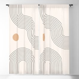 Geometric Arch Lines – Rainbow Lines, Mustard Circles, Stripes, Abstract Geometric Lines and Shapes Blackout Curtain