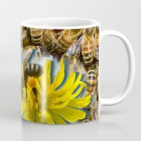 bees Mugs featuring Bees by Moody Muse
