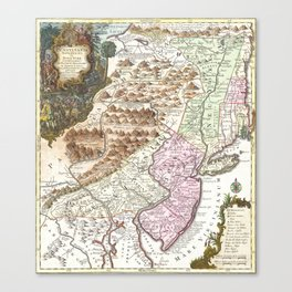 New England Ancient Map (1756) Canvas Print