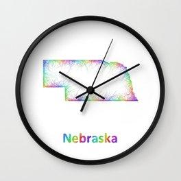 Rainbow Nebraska map Wall Clock