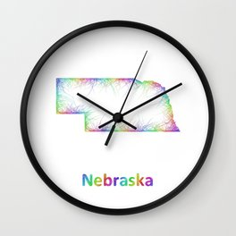 Rainbow Nebraska map Wall Clock