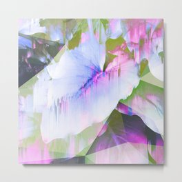Lush Foliage Glitch - Green and Pink Metal Print