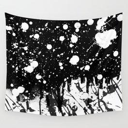 Black and White Splatter Paint  Wall Tapestry