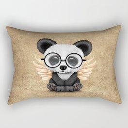 Cute Panda Cub with Fairy Wings and Glasses Rectangular Pillow
