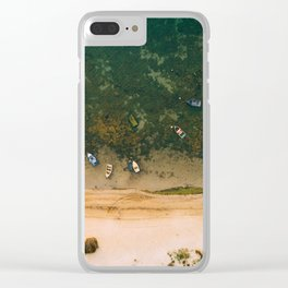 Aerial view of a Lagoon with boats Clear iPhone Case