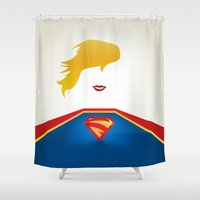 supergirl Shower Curtains featuring SUPERGIRL by Roboz