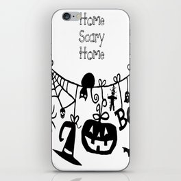Home Scary Home Bats Pumpkin, Black Cat, Voodoo Doll, Ghost, Spider iPhone Skin