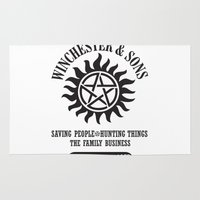winchester Area & Throw Rugs featuring SUPERNATURAL WINCHESTER AND SONS by thischarmingfan