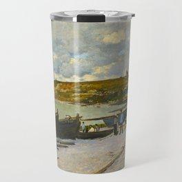 Claude Monet Impressionist Landscape Oil Painting Sainte-Adresse Travel Mug