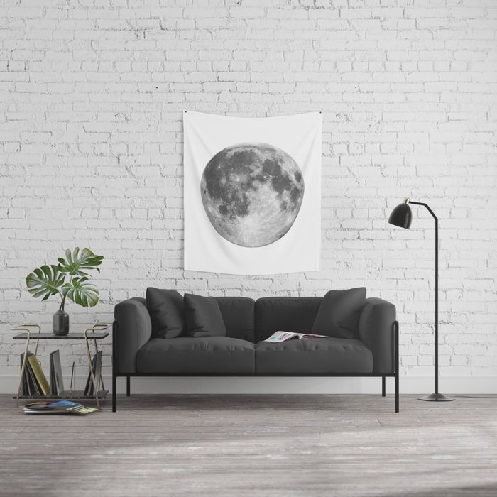 Full Moon phase print black-white monochrome new lunar eclipse ...
