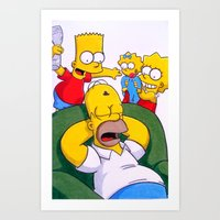simpsons Art Prints featuring Simpsons by Brian David