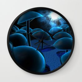 glowy mushrooms Wall Clock