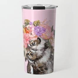Owl with Flowers Crown in Pink Travel Mug