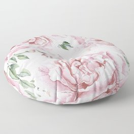 Beautiful Pink Roses Garden Floor Pillow
