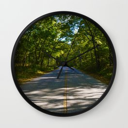The road to Point Pelee National Park, Ontario Canada Wall Clock