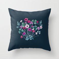 Meadowsweet III Pink on Denim Throw Pillow