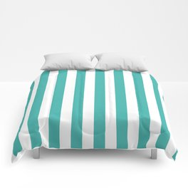 Narrow Vertical Stripes - White and Verdigris Comforters