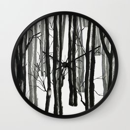 wood and snow Wall Clock