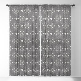 Halloween Damask Floral Sheer Curtain