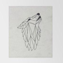 Geometric Howling Wild Wolf Throw Blanket