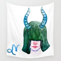 capricorn Wall Tapestries featuring Capricorn by Aloke Design