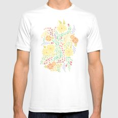 It's Floral White Mens Fitted Tee MEDIUM