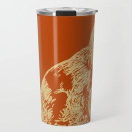 Gold dog on burnt orange Travel Mug