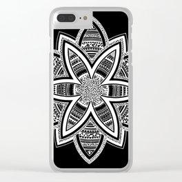 wholeness white mandala on black Clear iPhone Case