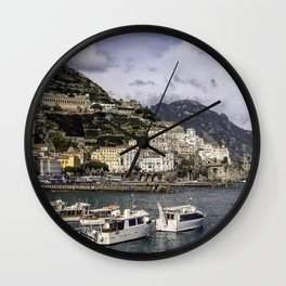 Amalfi, Italy- a view of the city, harbor and shoreline Wall Clock