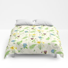 Spring Flowers and Ferns Illustrated Pattern Print Comforters
