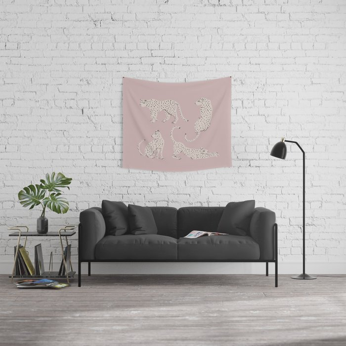 LEOPARD BLOCK PARTY - PINK Wall Tapestry