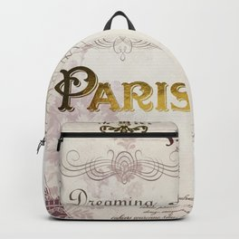 Paris Eiffel Tower French Script Blush Pink Montage Backpack