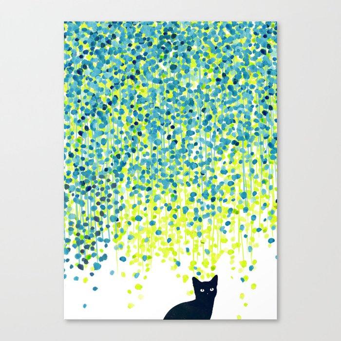 Cat in the garden under willow tree Leinwanddruck