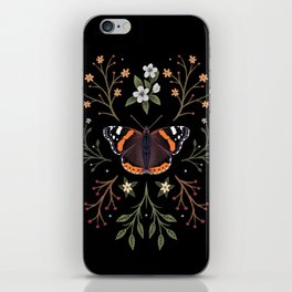 Red Admiral Botanical Butterfly iPhone Skin