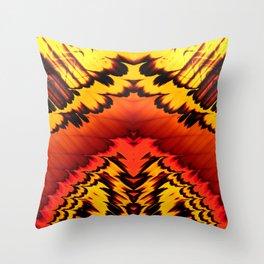 Yellow, Orange, Red Grunge-look Fractal Throw Pillow