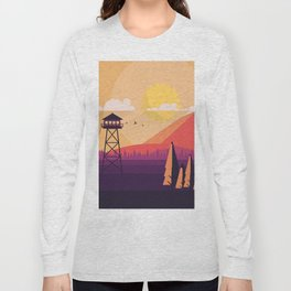 VECTOR ART LANDSCAPE WITH FIRE LOOKOUT TOWER Long Sleeve T-shirt