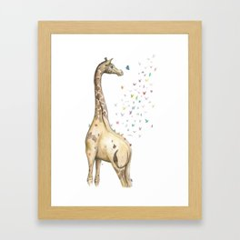 Young Giraffe with Butterflies Framed Art Print