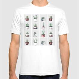 Cactus Bunch Grid Rose Gold Gray Green T-shirt