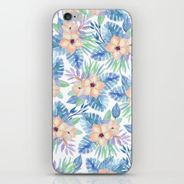 Tropical coral lilac lavender blue watercolor floral iPhone Skin