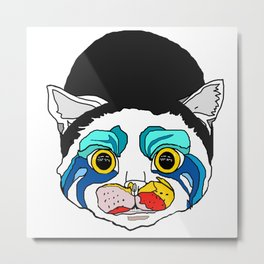 Ga Ga Cat Head Metal Print