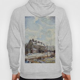 Louveciennes Road Snow Effect 1872 By Camille Pissarro | Reproduction | Impressionism Painter Hoody